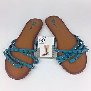 VOLCOM SANDAL Thong Strappy Blue Flip Flop 6